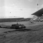 Elicottero nello stadio Artemio Franchi. Firenze 1966