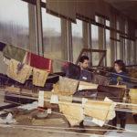 Coperte danneggiate di libri alluvionati nella BNCF